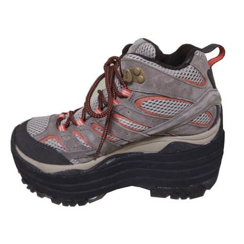 orange&grey shoe with a external shoe lift